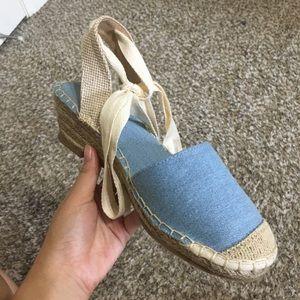 ASOS Espadrilles Wedge Sandals in Cream/Denim Blue